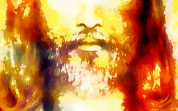 Detail of Jesus face, abstract colorful collage. Detail of Jesus face, abstract colorful collage vector illustration