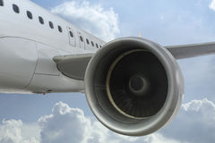 Detail of Jet Engine inflight. Detail view of the engine of a passenger jet inflight stock images