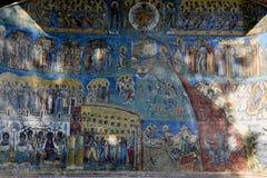 Detail of Judgment Day Apocalypse fresco on. Detail of Judgment Day (Apocalypse) fresco on western wall of Voronet monastery, Suceava county, Moldova, Romania Royalty Free Stock Photography