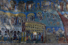 Detail of Judgment Day fresco on western wall. Detail of Judgment Day fresco on the western wall of Voronet monastery, Suceava county, Moldova, Romania Stock Image