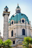 Detail of Karlskirche in Vienna, Austria Royalty Free Stock Photography