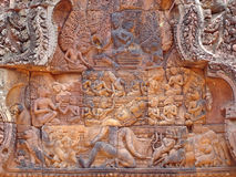 Detail of khmer stone carving. For the ramayana story legend - Preah Ko - Angkor temples - Cambodgia Royalty Free Stock Photos