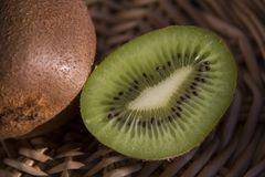 Detail of kiwi fruit. Detail of cutted kiwi fruit.Actinidia deliciosa Stock Photography