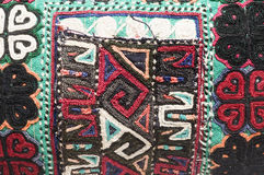 Detail knitted turkish kilm handbag pattern h Royalty Free Stock Photography