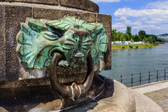Detail on the  Koblenz Monument. Detail at the Deutsches Eck with a large monument erected. Honor of Emperor Wilhelm I, Koblenz, Germany Royalty Free Stock Image