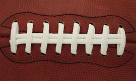 Detail of Laces on an American Football Game Ball Royalty Free Stock Photos