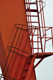 Detail of ladder for construction equipment. Detail of ladder for an gantry crane, a kind of construction equipment, composed by line and block by red color Stock Images