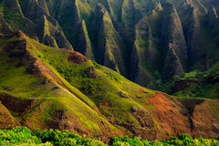 Detail landscape view of Na Pali rugged cliffs, Kauai Royalty Free Stock Images