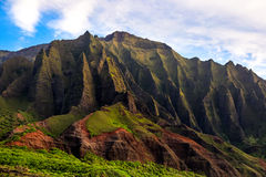 Detail landscape view of Na Pali rugged cliffs, Kauai Royalty Free Stock Photography