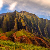 Detail landscape view of Na Pali rugged weathered cliffs, Kauai, Stock Images