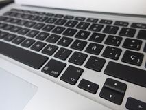 Laptop with spanish keyboard Royalty Free Stock Photo