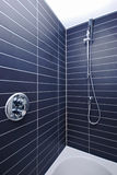 Detail of a large luxury shower in black and white. Detail of a large en-suite shower with shower attachment and stylish black tiles Royalty Free Stock Photo