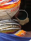 Detail, large necklaces and earrings of a Bonda tribal woman, Stock Image