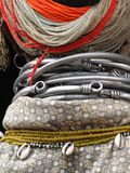 Detail, large necklaces and earrings of a Bonda tribal woman, Stock Photography