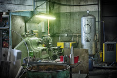 Detail of lathe machine in factory Royalty Free Stock Image