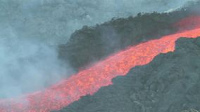 Detail lava flow with audio stock video