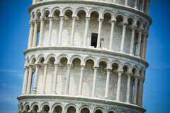 Detail on the Leaning Tower of Pisa in bright sunlight Royalty Free Stock Photos