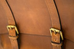 Detail of leather bag Royalty Free Stock Images