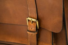 Detail of the leather bag Royalty Free Stock Photos