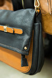 Detail of a leather bag closeup Royalty Free Stock Image
