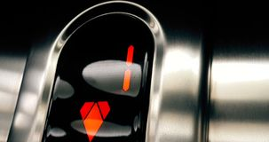 Detail of led number of elevator that go up from first to ground floor, business and. Technology stock footage
