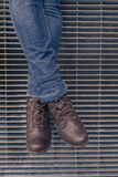 Detail of legs with jeans and shoes Stock Photos