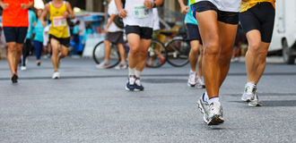 Detail of the legs of runners Stock Image