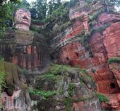 Leshan Giant Buddha in Sichuan Province in China. The detail of Leshan Giant Buddha 71 meters tall stone statue carved out of the cliff, faces confluence of Min royalty free stock images