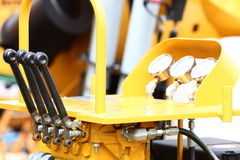 Detail of levers on new tractor industrial Royalty Free Stock Photos