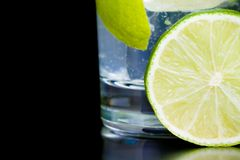 Detail of lime slice near cocktail and space for text Stock Photos