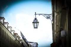 Detail of the Lisbon street lamps. The caravel, symbol of the ci. Detail of the Lisbon street lamps. The caravel symbol of the city Stock Photography