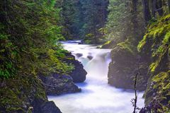 Little Qualicum Falls, a popular destination in Vancouver Island, BC Canada. Detail of Little Qualicum Falls, a popular destination in Vancouver Island, BC stock photos