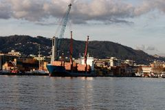Detail of little ship in a harbour. In italy royalty free stock photo