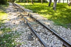 Detail of a little tramway in an urban park of Wien - Austria.  Stock Image