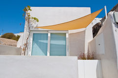 Detail of local hotel in Fira. Santorini, Greece. Stock Photo