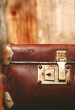 Detail of the lock on an old vintage trunk. Stock Photography