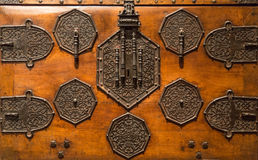 Detail of the lock old wooden Chest Royalty Free Stock Images