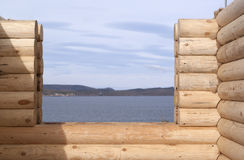 Detail of log cabin Royalty Free Stock Images