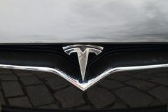 Tesla car Model S - detail of logo. Detail of logo Tesla Motors on black electric car Tesla Model S by Elon Musk company Tesla Motors royalty free stock photography