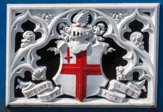 A detail of the London Tower bridge. Detail of Tower Bridge London Crest Heraldry Royalty Free Stock Photo