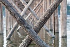 U Bein Bridge, Myanmar. Detail of the longest teak bridge U Bein in Amarapura near Mandalay in Myanmar Stock Photo