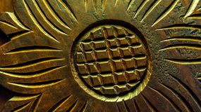 Detail of wooden sculpture. Detail look of floral wooden sculpture Royalty Free Stock Photo
