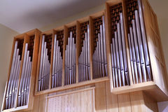 Detail look of large pipe organ Stock Images