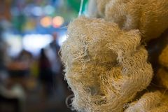 Detail of luffa sponges with blurred background stock photography