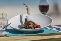 Detail lunch, dessert from Orient Bay in Saint Martin. Photograhy of  lunch, dessert from Orient Bay in Saint Martin Royalty Free Stock Photo