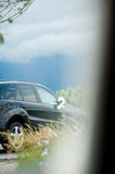 Detail of a luxury off-road car decorated for wedding Royalty Free Stock Photography