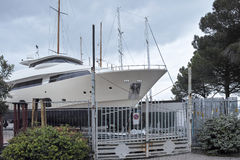 detail of a luxury yaxht in a shipyard Royalty Free Stock Photo