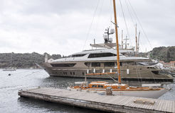 detail of a luxury yaxht in a shipyard Stock Images