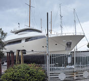 detail of a luxury yaxht in a shipyard Stock Photos