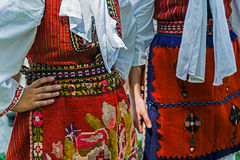 Detail of Macedonian folk costume for women Royalty Free Stock Photo